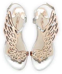 "Sophia Webster Seraphina Angel-Wing Sandal, Rose Gold/Silver - Sophia Webster two-tone metallic leather sandal. 1/2"" flat covered heel. Cutout angel-wing vamp. Adjustable ankle strap. Open toe with knotted thong strap. Padded leather footbed. Leather lining and sole. ""Seraphina"" is made in Brazil."
