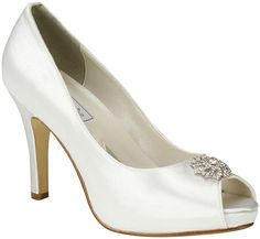 Dazzling Dyeable White Satin High Heel Bridal Shoes feature Ornate Rhinestone Ornaments and Hidden Platform Soles. Fresh peep toe styling puts these regal wedding pumps in the forefront of bridal fashion! Dyeable Shoes, Satin Shoes, Satin Pumps, Up Shoes, Prom Shoes, Peep Toe Pumps, High Heel Pumps, Pumps Heels, Flats
