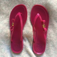 Tory Burch sandals Worn 2/3 times at most. Just don't wear them enough. Just light wear/dirt on bottom of sandals. Size 7, but I'm usually a 6, & these fit me with a little extra room. So can fit a 6 1/2 as well. No modeling, NO TRADES & PRICE FIRM. Tory Burch Shoes Sandals