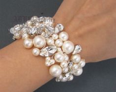 Pulsera novia pulsera de la perla de la boda por adriajewelry
