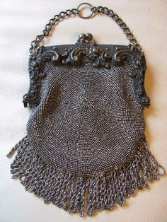 Antique Victorian Art Nouveau Floral Steel Bead Suede Chatelaine Kilt Purse #347 #EveningBag