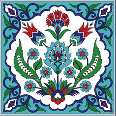 Turkish Tile Pattern – Vintage iznik ceramic with tulips Pillow Sham by patterns_journey Turkish Art, Turkish Tiles, Portuguese Tiles, Moroccan Tiles, Tile Patterns, Pattern Art, Turkish Pattern, Arabesque Pattern, Colorful Drawings