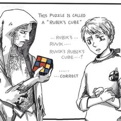 """Instagram media by josephodamn - x """"Rubik's.... Ruvik... Ruvik's Rubik's cube?"""" - Am I the only one who hears Leslie's attempt at saying this? Because its friggin' adorable. - Pixiv Artist: -nonem-"""