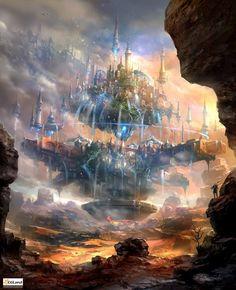 floating sci fi city / futuristic / fantasy / digital art