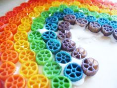 rainbow wagon wheels.  Definitely look for the wagon wheels.  I couldn't find them and bought bowties... Glueing was very challenging...