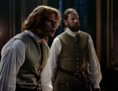 """Jamie Fraser (Sam Heughan) and Murtagh (Duncan LaCroix) in Episode 205 """"Untimely Resurrection"""" of Outlander Season Two on Starz"""