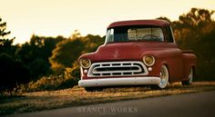 Stance Works features a 57 Chevy Pickup that embodies the heart and soul of the Stance Works philosophy. Read on to learn more about Adam's Chevy Pickup. 57 Chevy Trucks, Lowered Trucks, Classic Chevy Trucks, Hot Rod Trucks, Gm Trucks, Cool Trucks, Pickup Trucks, Classic Cars, Chevy Stepside