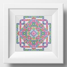 Geometric Mandala No. 1 measures squares, 2750 stitches with a variety of 18 different colours. (DMC codes only guidelines) Thread estimate would be minimum 1 skein per colour. Embroidery Alphabet, Folk Embroidery, Cross Stitch Embroidery, Cross Stitch Patterns, Scandinavian Style, Stitch Shop, Geometric Mandala, Modern Cross Stitch, Hama Beads