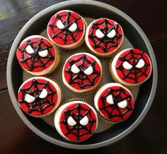 Marshmallow fondant Spider-Man cupcake toppers.