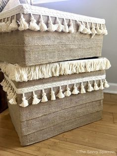 Don't throw it away! Upcycle and create something beautiful that you can still use! These 7 easy upcycled project ideas will get you started. Diy Cardboard Furniture, Cardboard Storage, Cardboard Box Crafts, Fabric Storage Bins, Craft Room Storage, Diy Furniture, Furniture Storage, Playhouse Furniture, Cardboard Playhouse