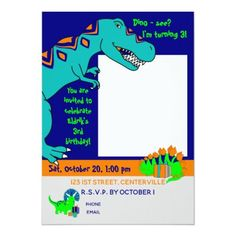 Dinosaur invitation vertical picture Custom Invitations, Invitation Cards, Dinosaur Birthday Invitations, You Are Invited, Colored Envelopes, Envelope Liners, Smudging, Paper Texture, Colorful Backgrounds