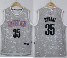 Thunder #35 Kevin Durant Grey City Light Stitched NBA Jersey