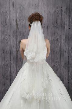 Timeless Two-tier Lace Edge Tulle Ivory Fingertip Veils CV0015008cocomelody#weddingveil#bridal#veil#