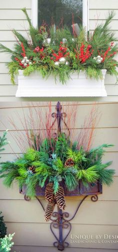 How to create colorful winter outdoor planters and beautiful Christmas planters with plant cuttings and decorative elements that last for a long time. They will look amazing from Thanksgiving through New Year! - A Piece of Rainbow Christmas Window Boxes, Christmas Urns, Christmas Planters, Christmas Arrangements, Outdoor Christmas Decorations, Christmas Centerpieces, Christmas Holidays, Christmas Wreaths, Holiday Decor