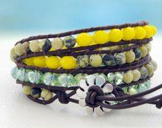 Butterfly... Leather wrap bracelet... Beaded Triple by OceanBead