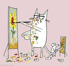 Cat and mouse working together! #WeLoveCats #WeLoveAnimals #Art @AnimalBehaviorC