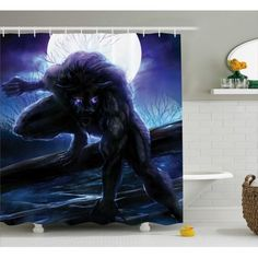 Fantasy World Decor Shower Curtain, Surreal Werewolf Electric Eyes Moon Transformation Folkloric Decor, Fabric Bathroom Set with Hooks, 69W X 84L Inches Extra Long, Indigo Yellow, by Ambesonne #eclecticdecor