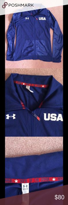 USA Under Armour Jacket Sleeves and pockets are windbreaker material and the rest of the jacket is a regular sweatshirt. Very cute, USA home of the brave. Under Armour Jackets & Coats
