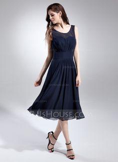 Bridesmaid Dresses - $106.99 - A-Line/Princess Scoop Neck Knee-Length Chiffon Bridesmaid Dress With Ruffle (007015677) http://jjshouse.com/A-Line-Princess-Scoop-Neck-Knee-Length-Chiffon-Bridesmaid-Dress-With-Ruffle-007015677-g15677
