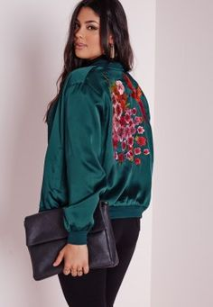 Plus Size Oriental Embroidered Satin Bomber Teal