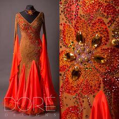 Nude & Orange Standard w/ 3D Stoned Flower Design & Handpainted Godets