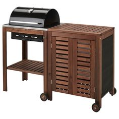 ÄPPLARÖ / KLASEN Charcoal barbecue with cabinet - brown stained, stainless steel color - IKEA Barbecue Grill, Grilling, Wood Storage Cabinets, Built In Cabinets, Charcoal Bbq Grill, Fire Basket, Ikea Family, Grill Accessories, Colors