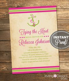 Nautical Bridal Shower Invitation Tying the Knot Anchor