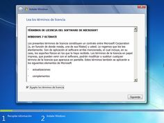 Instalar Windows 7: Acepta la licencia