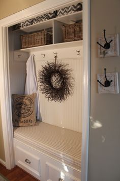 Hall closet made into a cuter space / work by Clayton Davis Interiors (VA)