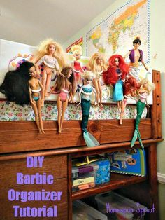 Barbies are nearly impossible to organize! But not any more...make this & Barbie Doll and Action Figure #Storage! Easy #DIY Fits behind the ...