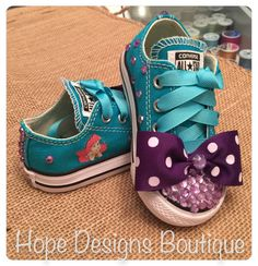 Shine bright like a diamond with these Little Mermaid Bling'em Up-styled Baby Converse Chuck Taylor All-stars!  Custom made in any theme or style.  Shoes included.  Size must be included with order. | Shop this product here: http://spreesy.com/HopeDesignsBoutique/1 | Shop all of our products at http://spreesy.com/HopeDesignsBoutique    | Pinterest selling powered by Spreesy.com