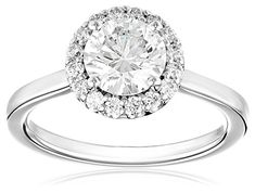 GIA-Certified 14k White Gold Diamond Halo Ring (1 1/4 cttw, G-H Color, SI1-SI2 Clarity)