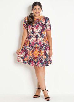 Vestido Evasê Marguerite Mix Floral Plus Size - Marguerite Floral, Look, Plus Size, Casual, Dresses, Closet, Fashion, Flowergirl Dress, Big Sizes