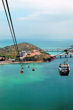 Ngong Ping 360 Cable Car/Lantau Island, Hong Kong. This is the way to the Big Buddha. Spectacular views of the airport and just about everything else. The highest cable car I've ever experienced and with a see through floor. Not a good idea!