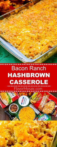 Cheesy Bacon Ranch Hash Brown Casserole - Flavor Mosaic Cheesy Bacon Ranch Hashbrown Casserole (AKA Funeral Potatoes) gives the classic Cracker Barrel Hashbrown Casserole a flavor boost with bacon, ranch seasoning mix, Worcestershire, and hot sauce. Cheesy Potatoes With Hashbrowns, Cheesy Ranch Potatoes, Cracker Barrel Hashbrown Casserole, Hashbrown Breakfast Casserole, Potatoe Casserole Recipes, Hash Brown Casserole, Sweet Potato Casserole, Potato Recipes, Bean Casserole