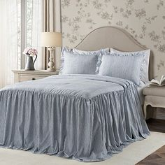 Lush Decor sells a variety of stylish bedding sets for all ages, such as the Ticking Stripe Bedspread Set online. Ruffle Bedspread, Ruffle Skirt, Ruffles, Ruffle Fabric, Full Comforter Sets, King Comforter, Big Girl Bedrooms, Master Bedrooms, Country Bedrooms