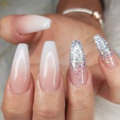 Nail Art Designs In Every Color And Style – Your Beautiful Nails Faded Nails, Matte Nails, Pink Nails, My Nails, White Acrylic Nails With Glitter, Glitter Nails, Acrylic Nails Coffin Ombre, White Acrylics, White Glitter