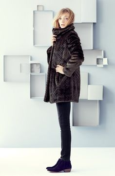 Free shipping and returns on Ellen Tracy Faux Fur A-Line Coat & Wit & Wisdom Skinny Jeans at Nordstrom.com- I LOVE THIS!