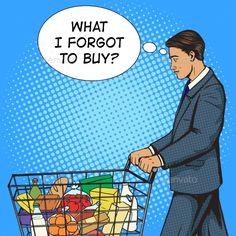 Businessman with Shopping Cart Pop Art