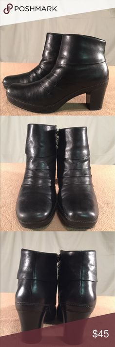 Clarks Artisan Collection Black Leather Boots These Ankle boots have been Very Gently Worn and are in EXCELLENT CONDITION. The heel height of this boot is 3 inches tall Clarks Shoes Ankle Boots & Booties