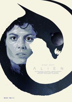 Alien by Jeff Poitiers Alien 1979, Alien Film, Alien Art, Best Movie Posters, Movie Poster Art, Film Posters, Man In Black, Giger Alien, Fan Poster