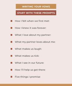 Writing Wedding Vows, Writing Vows, Writing Your Own Vows, Wedding Vows To Husband, Wedding Prep, Wedding Goals, Wedding Tips, Our Wedding, Wedding Shoes