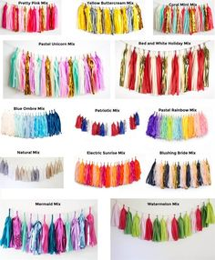 Handmade tassel garland in pink and orange hues, cut from high quality premium tissue paper with much attention and care. A rustic, one of a kind, chic decoration for any event! It's also an eye-catching addition for you Tissue Garland, Tissue Paper Tassel, Diy Garland, Garlands, Yarn Crafts For Kids, Easy Diy Crafts, Deco Ballon, Sparkle Party, Do It Yourself Crafts