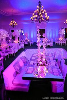 Stunning reception room reveal from Monaco couple Melissa & Dean's destination wedding in Miami. Wedding planned and designed by Tiffany Cook.