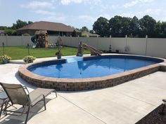 Semi-In Ground Pools, Partial In Ground, Hybrid Pool Nashville, Clarksville Backyard Pool Landscaping, Backyard Pool Designs, Small Backyard Pools, Small Pools, Semi Above Ground Pool, In Ground Pools, Semi Inground Pools, Pool House Decor, Pool Deck Plans