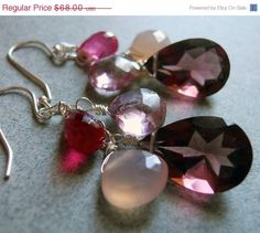 EARRING SALE 15% off Candy Jar Plum quartz and chalcedony earrings on Etsy, $57.80