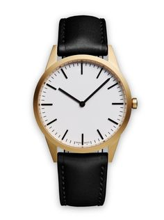 C35 two-hand watch in PVD gold  / with black nappa leather strap