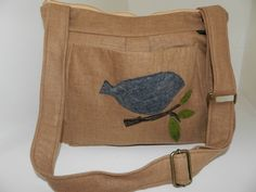 Purse, messenger, travel bag zipper close, diaper or book bag, slouch, Carmel Burlap Linen,  by Darby Mack. $79.00, via Etsy.