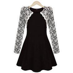 vestido del oscilación de encaje de la moda temperamento del color soild de fenci mujeres - USD $ 17.99