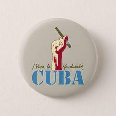 Viva La Revolucion Cuba Pinback Button - typography gifts unique custom diy
